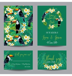 Tropical Flowers and Birds Wedding Card vector image
