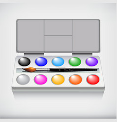 watercolor paint set with art brush isolated on vector image
