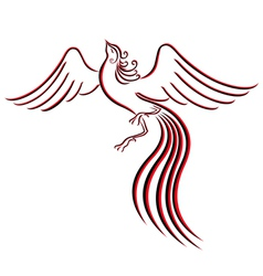 Black and red graceful Firebird contour vector image vector image