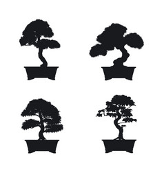 bonsai set black silhouette of bonsai vector image