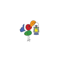 Cartoon style colorful bird with a lamp vector image vector image