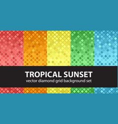 diamond pattern set tropical sunset seamless vector image vector image