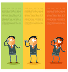flat businessman and bad news from his phone vector image