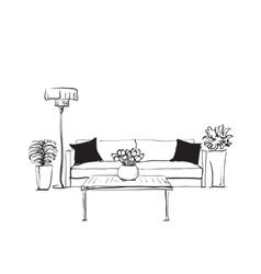 Modern interior hand drawing vector image vector image