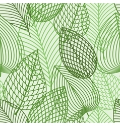 Seamless pattern of spring outline reen leaves vector image vector image
