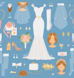 wedding cartoon bride icons seamless vector image vector image