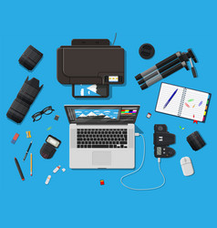 workspace of photographer vector image