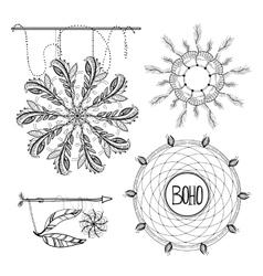 Boho Style Frames logos and hand vector image
