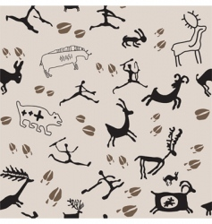 cave painting hunters and anima vector image vector image
