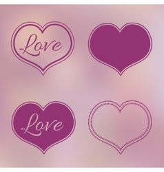 Collection of Pink Hearts on Blur Background vector image vector image