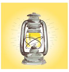hand draw oil lantern lamp burning vector image vector image