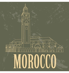 Kingdom of Morocco landmarks Hassan III Mosque in vector image