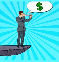 pop art businessman with spyglass vector image vector image