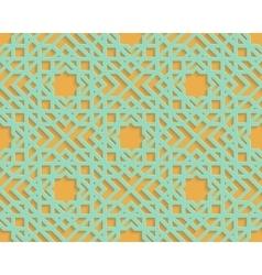 Seamless blue arabic geometric pattern on orange vector image vector image