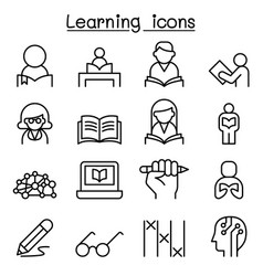 study learning education icon set in thin line vector image