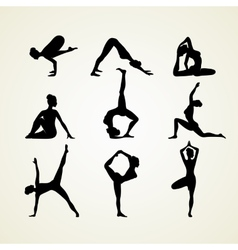 Yoga poses silhouette vector image
