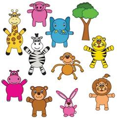 animal cartoon collection vector image vector image