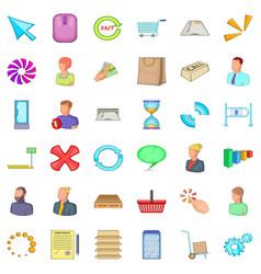 Business data icons set cartoon style vector
