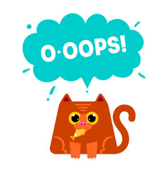 cat eating fis vector image vector image