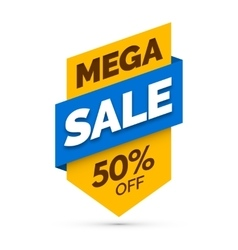 Mega sale banner Yellow and blue colors vector image vector image