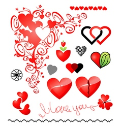 various variants of hearts for your design vector image