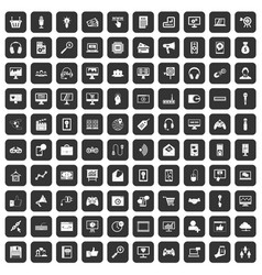 100 web and mobile icons set black vector image