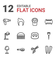 12 barber icons vector