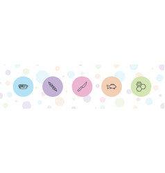 5 food icons vector