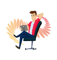 a man is talking by messenger by laptop sitting on vector image