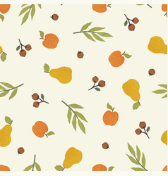 apples pears and nuts autumn seamless pattern vector image
