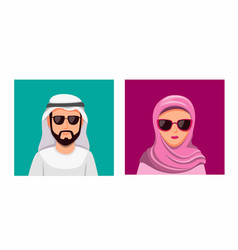 arabian man wear turban and woman hijab couple vector image
