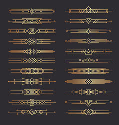 Art deco dividers lines shapes decorative borders vector