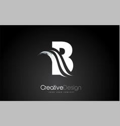 B letter design brush paint stroke letter logo on vector