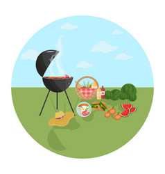 barbecue picnic icon green nature flat vector image
