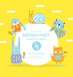 birthday party banner template invitation card vector image