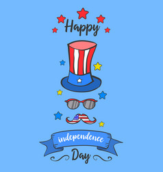 Blue background card independence day style vector