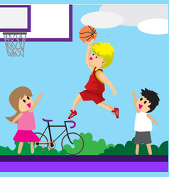 Boy play basketball character design cartoon art vector