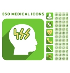 Brainstorming Head Icon and Medical Longshadow vector