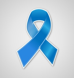 Breast cancer ribbon blue symbol vector image