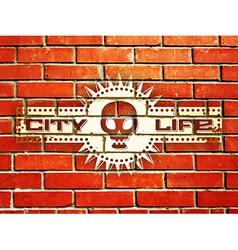 Brick wall with urban life sign vector