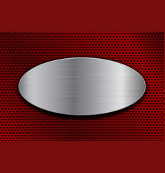 brushed metal oval plate on red perforated vector image