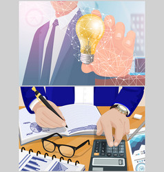 business idea and calculation process set vector image