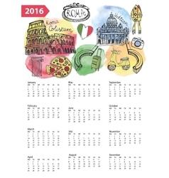 Calendar 2016ItalyRoma Landmarkssymbols vector