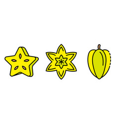 carambola icons set flat vector image