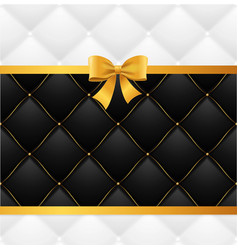 card silk ribbon bow and quilted background vector image