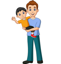 cartoon father carrying a son in his arms vector image