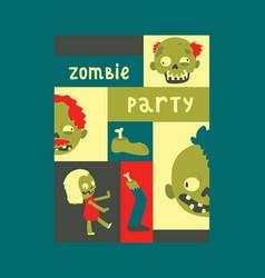 cartoon zombie pattern halloween scary vector image