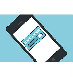 Cellphone downloading icon flat design vector image
