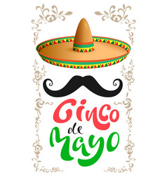 Cinco de mayo mexican sombrero hat black vector
