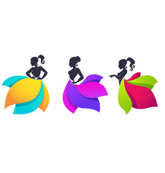 Collection of lady silhouettes in bright vector